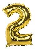 TH-MP XXL Folienballon Zahlen Geburtstag Jubiläum Abschluss Deko Party Feier Dekoration Ballons (Nr. 2 (86 cm), Gold)