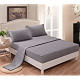[hachette] 50:50 POLY COTTON RICH QUALITY PERCALE FITTED SHEET SILVER GREY - DOUBLE BED SIZE