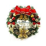DiiZii Weihnachtskranz,Türkranz Adventskranz aus PVC Rot Gold Au?en Weihnachtsdeko für Tür und Fenster