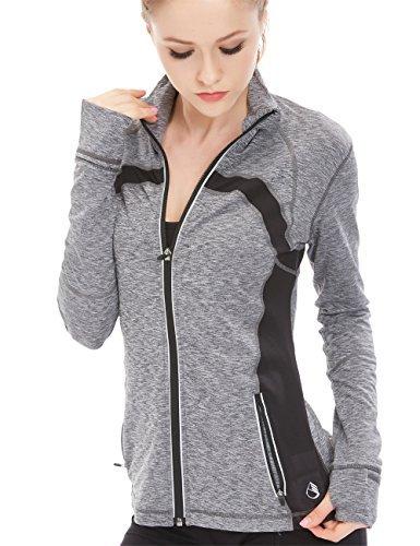 icyzone Sport Jacke Damen Langarm Shirt - Trainingsjacke voll Reißverschluss Laufshirt mit Daumenloch und Seitentasche (Gray Melange, XL)