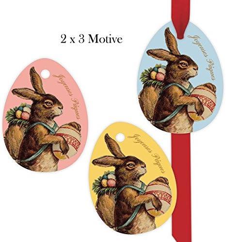 6 Étiquettes décoratives de cadeau de Pâques   Gift Tags   cartes-cadeaux déco en forme d'oeuf 10 x 7,5cm avec lapins de Pâques: Joyeuses Pâques B06W9G2KRG   La Qualité