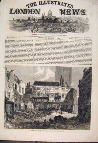 Antiken-Druck 1868 der Schnee-Hügel Demolierung Sarazene Haupt-