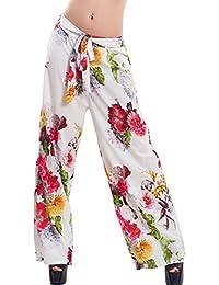 5eef1104a3416a Toocool - Pantaloni donna palazzo ampi fiori fantasia floreale cinta  eleganti sexy VB-1088
