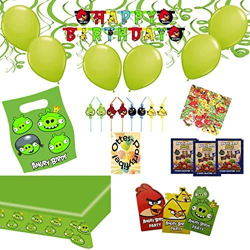 HHO Angry-Birds-Deko-Set 75tlg. für 6 Kinder Tischdecke Einladung Tüten Luftballons Trinkhalme Girlande Spiralen Konfetti Sticker