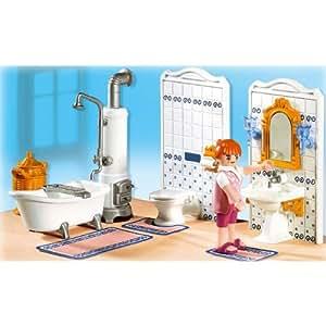 Playmobil 5318 maman salle de bain tradition amazon for Prix salle de bain playmobil