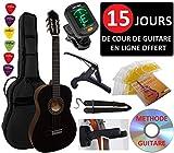 Pack Guitare Classique 4/4 (Adulte) 6 Accessoires Cour Vidéo et DVD (Noir)