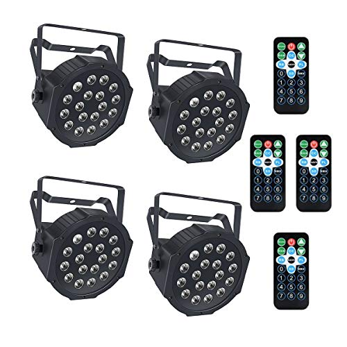 (Lrifuer LED Stage Lights 18LED Par Lights by Remote and DMX Control for Wedding Church Christmas party Halloween bar Stage Lighting (4PC))