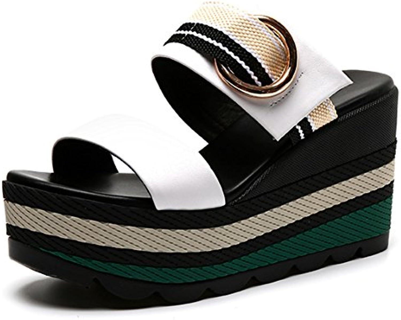 Gemütlich Slip mit Sandalen Pantoffeln Weibliche Sommer Mode tragen Pantoffeln High-heeled unteren flachen Sandalenö