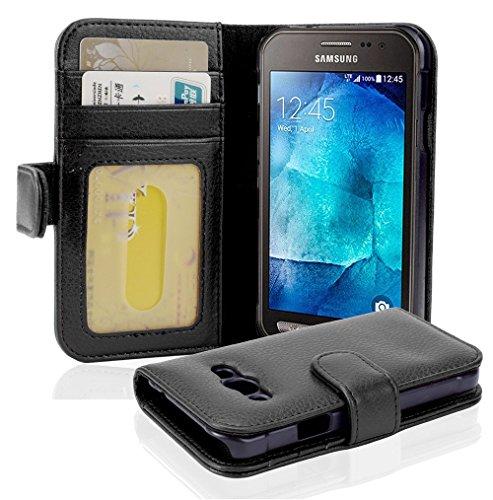 Cadorabo Hülle für Samsung Galaxy Xcover 3 - Hülle in Oxid SCHWARZ - Handyhülle mit 3 Kartenfächern - Case Cover Schutzhülle Etui Tasche Book Klapp Style