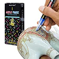 Marte Vanci 0.7mm Fine Tip Paint Pens for Rock Painting, Ceramic, Porcelain, Glass, Wood, Fabric, Canvas. Best for DIY Mug, Kids Toy Painting, 15 Permanent Acrylic Paint Markers