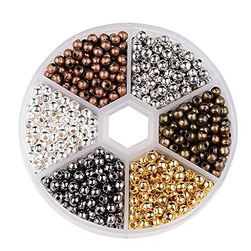 IPOTCH Entretoise De Boucle d'oreille De Bracelet De Collier De Collier De DIY De Perle Lâche Ronde 4mm avec Le Trou De 1.5mm