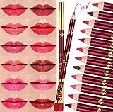 CINEEN 12 Farben Professionelle Lipliner Set Wasserdichte Lip Liner Eyeliner Lip Pencil Lippenstift Lippenkonturenstift mit Deckel