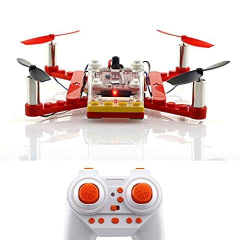 GEEDIAR 021 mini Quadrocopter Drohne Einbau DIY Konstruktionsbausteine mit Fernsteuerung 2.4G 4-Kanal 6 Achse mini Drone Spielzeug Komplett Set