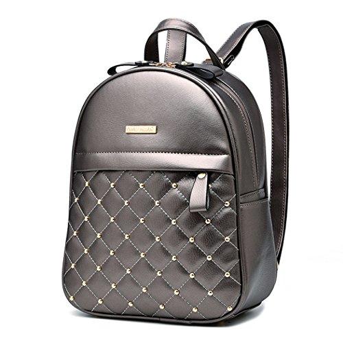 DEERWORD Damen Rucksackhandtaschen Schultertaschen Schulrucksack Tagesrucksack Laptoptasche Leder Silber -