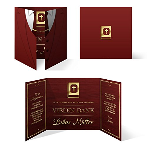 80 x Konfirmation Dankeskarten Danksagungskarten Danksagung Konfirmationskarten - Altarfalz Anzug