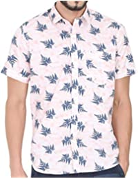 Cranberry Men Short Sleeve Shirt Casual Hawaiian Flower Floral Leaf Party Beach Vacation Aloha Printed Pink Blue …