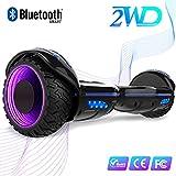 2WD 6.5 '' Hoverboard Scooter eléctrico Las Ruedas LED Luces Self Balance Scooter con Bluetooth, Scooter eléctrico 6.5'- UL2272 Certificado el monopatín eléctrico 2 * 350W (E9-Negro)