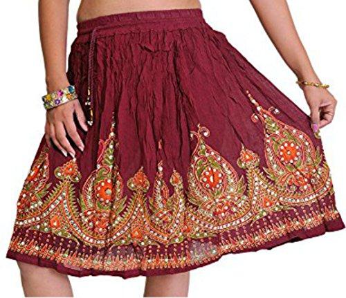 SHORT Damen Indianer Boho Hippie Zigeuner Sequin Sommer Sommerkleid Maxi Rock Kastanienbraun