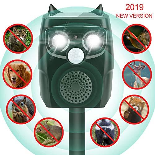 AimTop Solar Katzenschreck, Ultraschall Tiervertreiber Solar Tierabwehr Wasserdicht, 4 Modus Automatischer Ultraschall Abwehr mit Solar, Blitz, Akku für Hunde, Katze, Eichhörnchen, Ratte, Waschbären