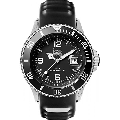 Ice-Watch - Ice Sporty Black White - Montre Noire pour Homme avec Bracelet en Silicone - 001451 (Medium)
