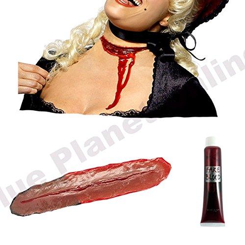 Halloween Schnitt Hals Hals Latex Wund Narbe & Falsches Blut Spezialeffekt Make-up