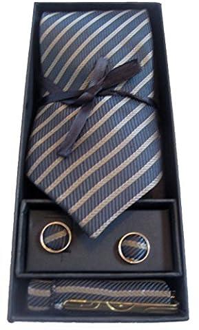 Cravate en soie Set - 4 pièces Ensemble Cravate Boutons de manchette en soie , cravate clip & boîte Hankerchief Cadeau (Or Stripe)