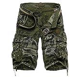 crazyplayer Summer Cargoshorts Cargobermudas Kurze Hose für Herren Männer aus reine Baumwolle in Armee-Camouflage Grau Grün Blau