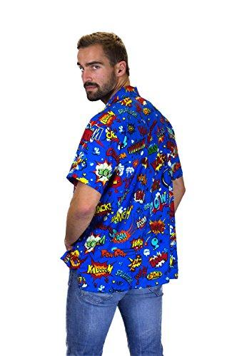 King Kameha Original Funky Hawaiihemd | Herren | Kurzarm | Front-Tasche | Hawaii-Print | Boom Bang Comic | Verschiedene Farben MultiBlau