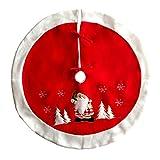 FY Christbaumständer Christbaumdecke Rund Baum Röcke Baumschmuck Weihnachtsmann Muster Deluxe Bestickt Weihnachten Geschenke Partei Dekor Durchmesser 35.43 Zoll Rot