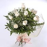 Ramo de 12 rosas blancas naturales-FLORES FRESCAS-ENTREGA EN 24 HORAS
