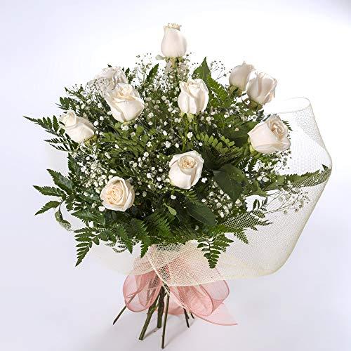 12 rosas blancas naturales