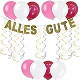 FROHGEMUT HAUSHALTSWAREN Geburtstagsdeko Mädchen | Geburtstagsdeko Set in Pink, Gold, Rosa, Rot u. weiß
