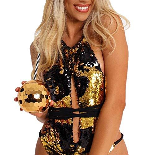 SCHOLIEBEN Bikini Glitzer High Waist Push Up Damen Badeanzug Bademode Bustier Sexy Brazilian Bandeau BH Triangle Thong Retro