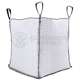 GardenersDream 1 Tonne FIBC Bulk Builders Bags Wtih Handles - Large 1000kg Capacity Strong Reinforced Loops Tough Heavy Duty 1 Ton White Garden Sacks (1)