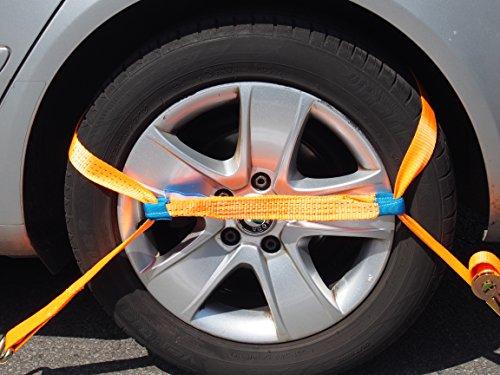 Preisvergleich Produktbild NTG 4X 35mm Spanngurt Auto Transport Zurrgurt Radsicherung PKW Reifengurt