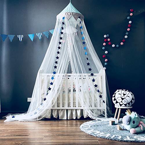 OldPAPA Moskitonetz, Betthimmel Deko Baldachin Moskitonetz Kinder Prinzessin Spielzelte Dekoration für Kinderzimmer, mit Sternen Dekoration 60 * 300cm (Blau)