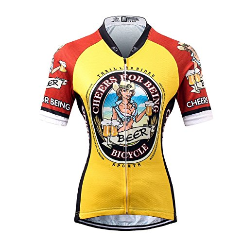 Thriller Rider Sports® Womens Cheers for Being Outdoor Sports Mountain Bike Short Sleeve Cycling Jersey 4 Colors