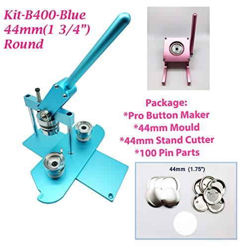 mm (1 3/4 Zoll) Pro Badge Maschine Button Maker-B400 + Form + 100 Teile + rosa Ständer Cutter metrisches System blau ()