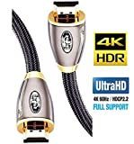 4K HDMI Cable 2M HDMI Lead-Ultra High-Speed 18Gbps HDMI 2.0b Cord 4K@60Hz Support Fire TV, Ethernet, Audio Return, Video UHD 2160p, HD 1080p,3D, Xbox PlayStation PS3 PS4 PC-IBRA PRO GOLD RED