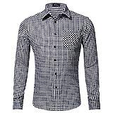 Xmiral Herren Bluse Art und Weise beiläufige Langarmhemd Taschen Lattice Bedruckte T-Shirt (M,B-Weiß)