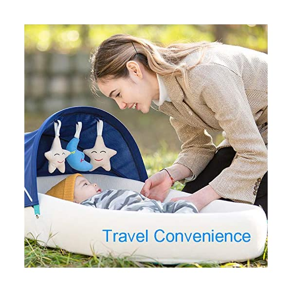 YANGGUANGBAOBEI Travel Crib,for Newborn,100% Cotton Newborn Portable Bassinet Crib,for 0-24 MonthBaby Care - The All In One Baby Lounger,Blue(C) YANGGUANGBAOBEI ✔ [BREATHABLE - WASHABLE]: Thousands of mesh holes and elastic layer maintain air circulation. The baby sleep pod can offer your baby good breathing environment when he sleeping.Even after repeated washing, its zipper will remain well. ✔ [ADJUSTABLE - FOLDING]: The slope of the head position of the baby bed can be adjusted from 5 to 30 degrees, it is not only suitable for sleeping, but also can be a baby bean bag. The folding design is easy to carry when you travel outside. ✔ [SOFT PAD - INSIDE DIMENSIONS]: This baby bed comes with an extra soft foldable cushion. You don't have to add anything extra to make your baby feel comfortable. The plastic frame is BMC material which is very light and firm. 2