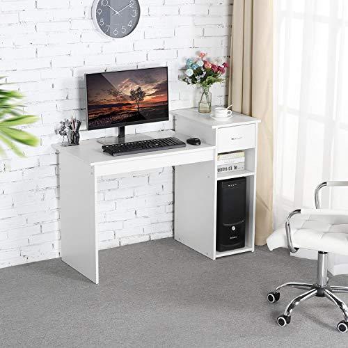 Yaheetech Computertisch, Schreibtisch mit Schublade und Ablagen, Bürotisch, PC-Tisch für Home Office, Weiß