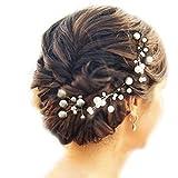 Musuntas 6 Stk. Perlen Strass Hochzeit Brautschmuck Braut Haarschmuck Strass Haarklammer