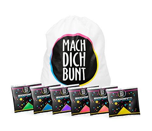 Mach Dich Bunt GmbH Mikrokonfetti Set, 6 Farben, inkl. Rucksack - Bereit für Das nächste Holyfestival,Party oder EIN Shooting -