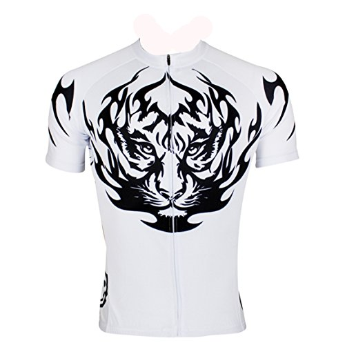 Men's Cycling Jersey Biking Shirts Road Cycling Mountain Outdoor Sports With Pockets White Tiger
