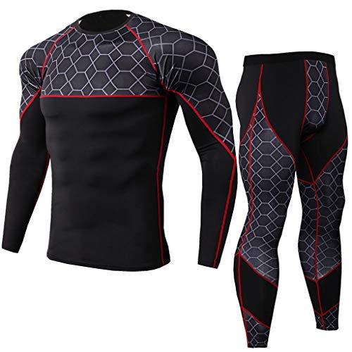 c787ffd8b6a8f POLP Camiseta Hombre Deportiva Conjuntos Pantalones de Compresión Ropa  Blusa de Manga Larga Blusa para Exteriores