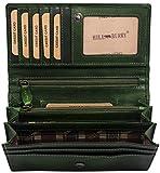 Hill Burry hochwertige Geldbörse | aus weichem Vintage Leder - Langes Portemonnaie - Kreditkartenetui (Grün)