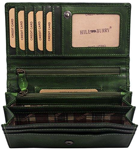 Hill Burry hochwertige Geldbörse   aus weichem Vintage Leder - Langes Portemonnaie - Kreditkartenetui (Grün) -