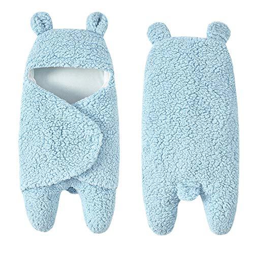 Jamicy Jamicy Bunte Neugeborenen Baby Wrap Swaddle Decke, Baby Kinder Kleinkind Stricken Decke Swaddle Schlafsack Schlafsack Kinderwagen Wrap für 0-12 Monate Baby (Blau)