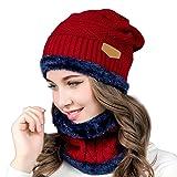Cappello Uomo invernale --Beileer Cappello Beanie Uomo Invernali in Maglia con Sciarpa per esterno inverno (vino rosso)